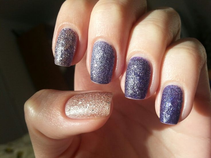 dégradé liquid sand nails - OPI Liquid Sand - Can't Let Go & Rimmel Space Dust - 006 Moon Walking & Rimmel Space Dust - 003 Aurora nail polish