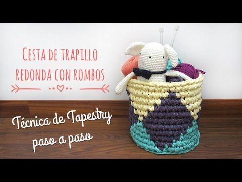 Cesta redonda de trapillo con rombos - Técnica de Tapestry - YouTube