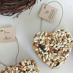 Bird seed heart wedding favors...love the eco-chic theme!! Great for a bridal shower, too.