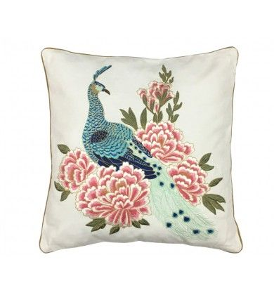 Peacock Embroidered Multicoloured cushion cover - Bedding