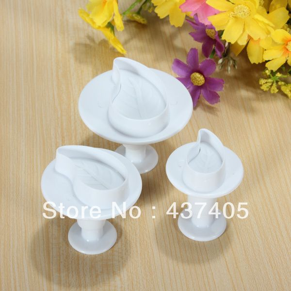 123 р Free Shipping 3Pcs/SET Cake Rose Leaf Mold Sugarcraft DIY Plunger Fondant Cutter Cookies Decorating Tools-in Cake Molds from Home & Garden o...