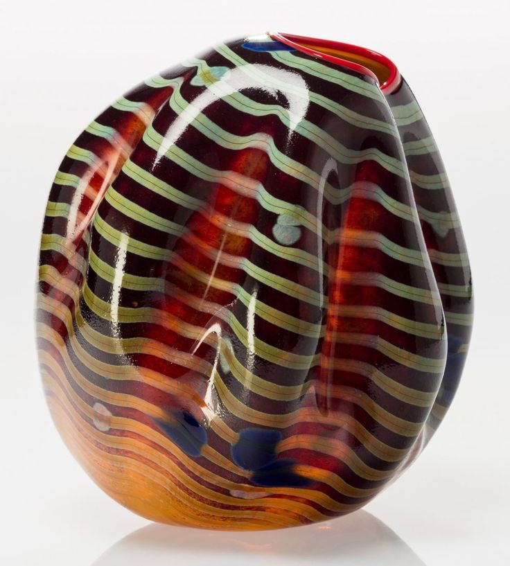 Dale Chihuly (American, b. 1941) Cinnamon Macchia Basket with Red Lip Wrap. Blown glass