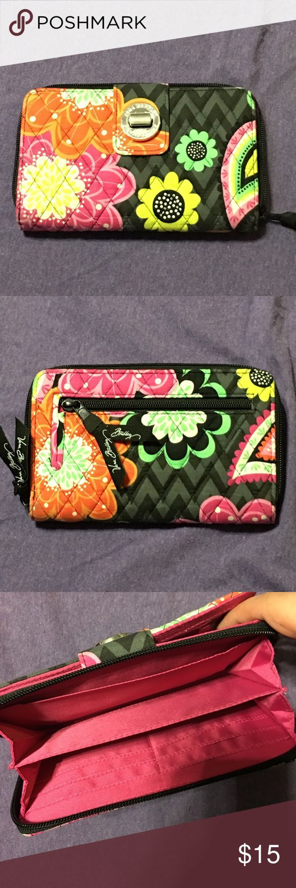 Vera Bradley Wallet! Cute Black and Floral Vera Bradley Wallet! GUC! Small barely noticeable stain on the back of wallet (as noted in picture). Would easily wash out! Vera Bradley Bags Wallets