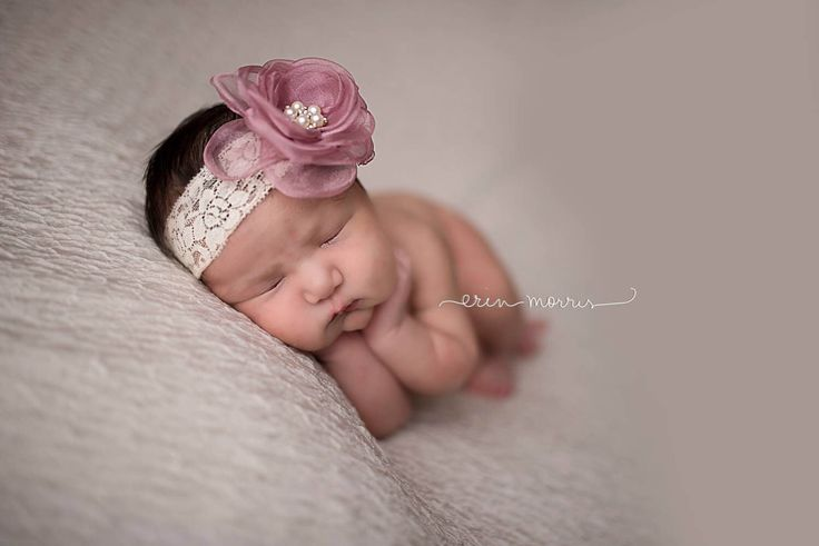 Newborn dusty rose headband, baby headband photo prop, baby lace headband with bling center, flower girl headband, newborn photo prop by EmilyzEmbellishments on Etsy https://www.etsy.com/listing/271873932/newborn-dusty-rose-headband-baby