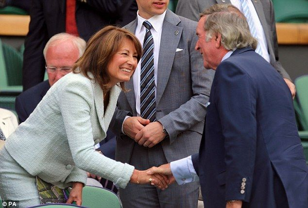 A delighted Carole is introduced to Sir Terry Wogan in the Royal Box at Wimbledon