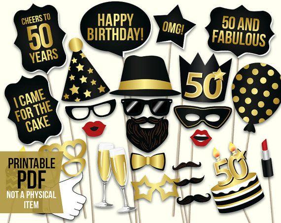 50th birthday photo booth props: printable PDF. by HatAcrobat