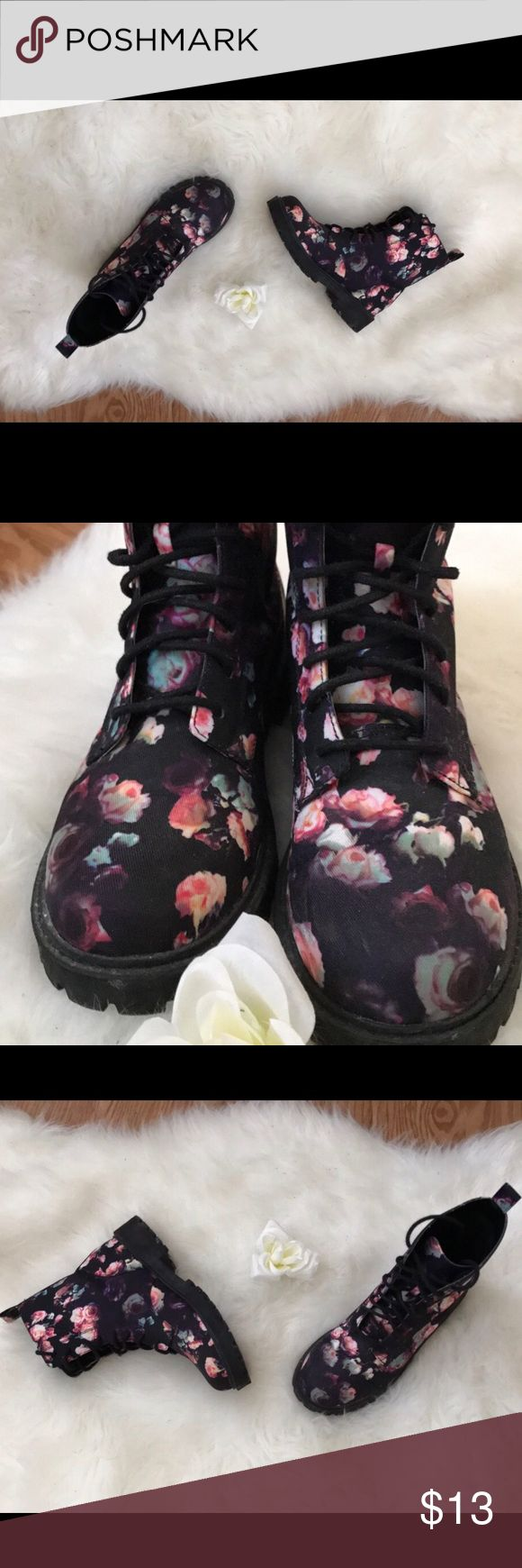 H&M floral combat boots Combat boot style with pastel pinks, blues, purple, etc flowers. Boots in great condition size US 7 woman. Please feel free to ask any questions. Shoes Combat & Moto Boots
