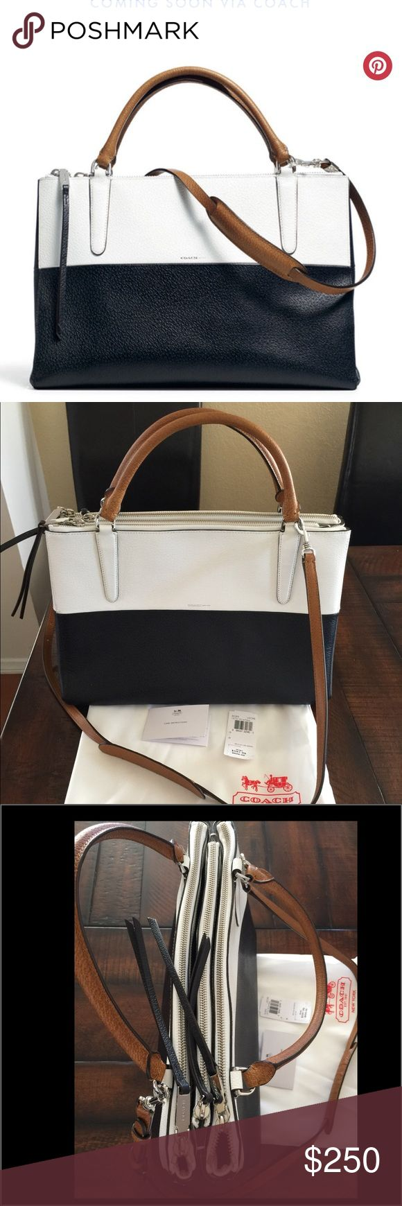 Coach Retro Boarskin Colorblock Borough bag Authentic Coach borough bag. This is perfect as a work bag. It is navy, white, tan color. I wore this maybe twice. It looks and smells new! Comes w/ care card, tag, and dustbag. Smoke and pet free home. I stopped working because of my babies so I no longer need this. It's just been sitting in my closet ever since. No scratches or pen marks. Just a very tiny wear on the bottom corners but you can't really see it. I tried taking photos but it doesn't…