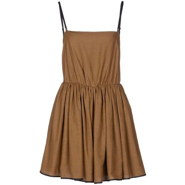 Mila By Mila Schön Short Dress (€55) ❤ liked on Polyvore featuring dresses, vestidos, short dresses, robes, khaki, zipper mini dress, brown dress, viscose dress, no sleeve dress and short sleeveless dress