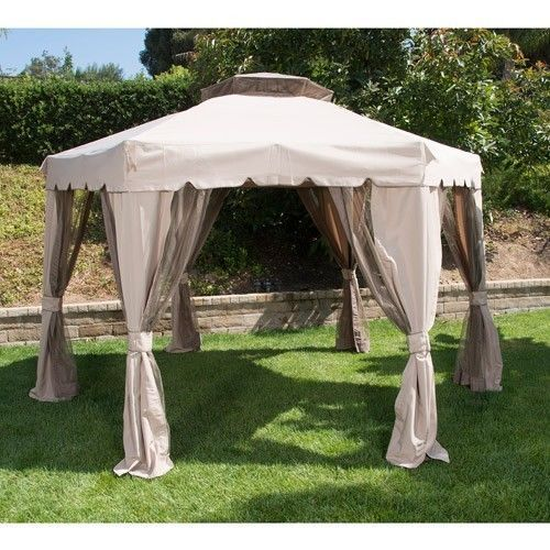 Portable Outdoor Screen Gazebo : Portable hexagonal gazebo canopy tent screen house