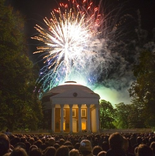 "Fireworks over The Rotunda at the University of Virginia, Thomas Jefferson's ""Academical Village."" #loveva"