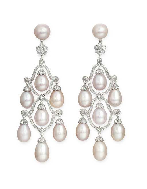 A PAIR OF CULTURED PEARL AND DIAMOND EAR PENDANTS, BY YOUSSOUFIAN   Each designed as a fringe of pink cultured pearls within diamond-set scrolling surmount to the diamond flowerhead and cultured pearl cap, 8.2 cm. long, in Michael Youssoufian black case  Each with maker's mark for Michael Youssoufian