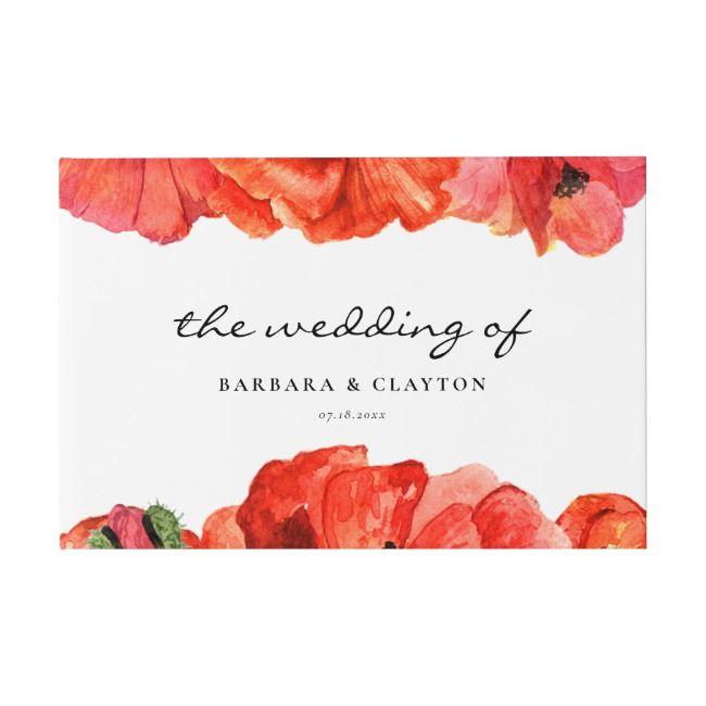 Rote Mohnblumen Aquarell Hochzeit Gästebuch | Zazzle   – Weddding Card Templates
