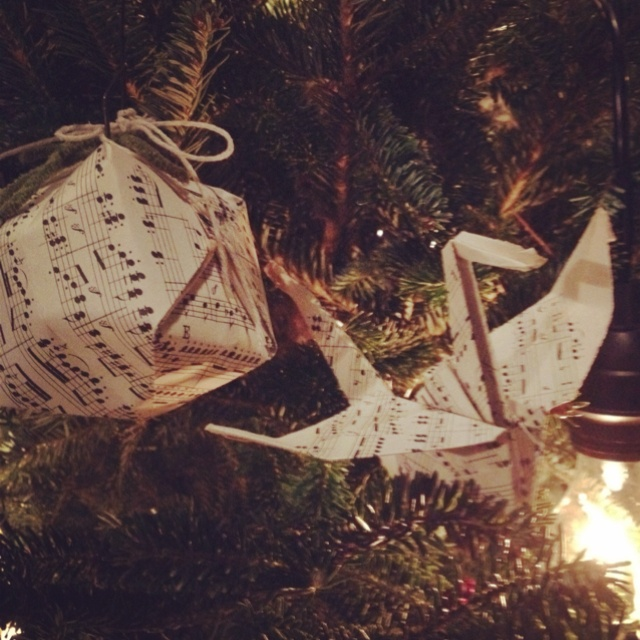 Origami Christmas Ornaments From Old Music Sheets For