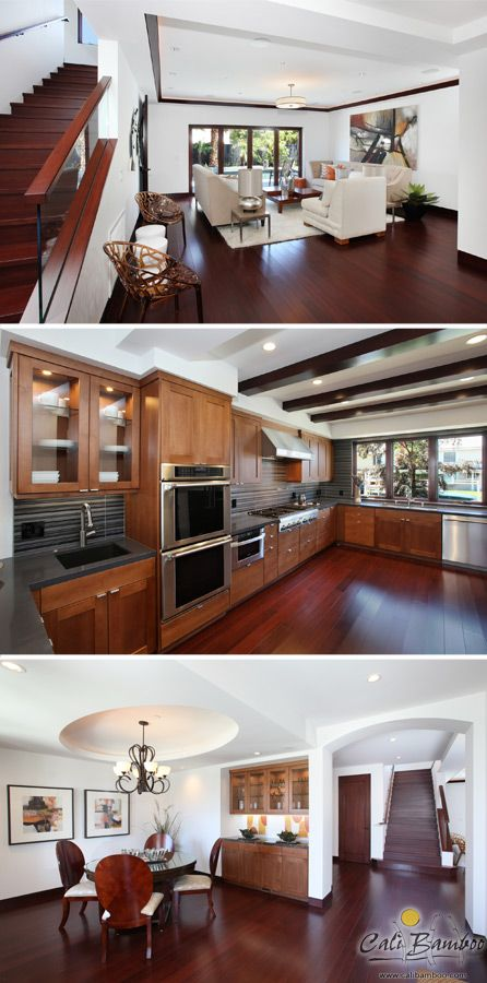 Cognac bamboo flooring is an eco-friendly alternative to cherry hardwood floors - elegant design idea