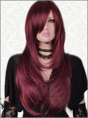 (Ad) CHWJ1001 Neue Gesundheit Haar lange weinrote Farbe gerade Perücke Mode Perücken Frauen