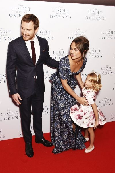 Michael Fassbender, Alicia Vikander, and Florence Clery on the red carpet for The Light Between Oceans premiere in London (19-10-2016)
