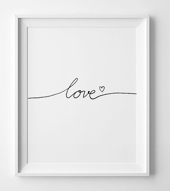 "Nursery Printable, wall art quote ""Love"" minimalist art, Wall art printable, Black and white nursery, love poster, Black and white print"