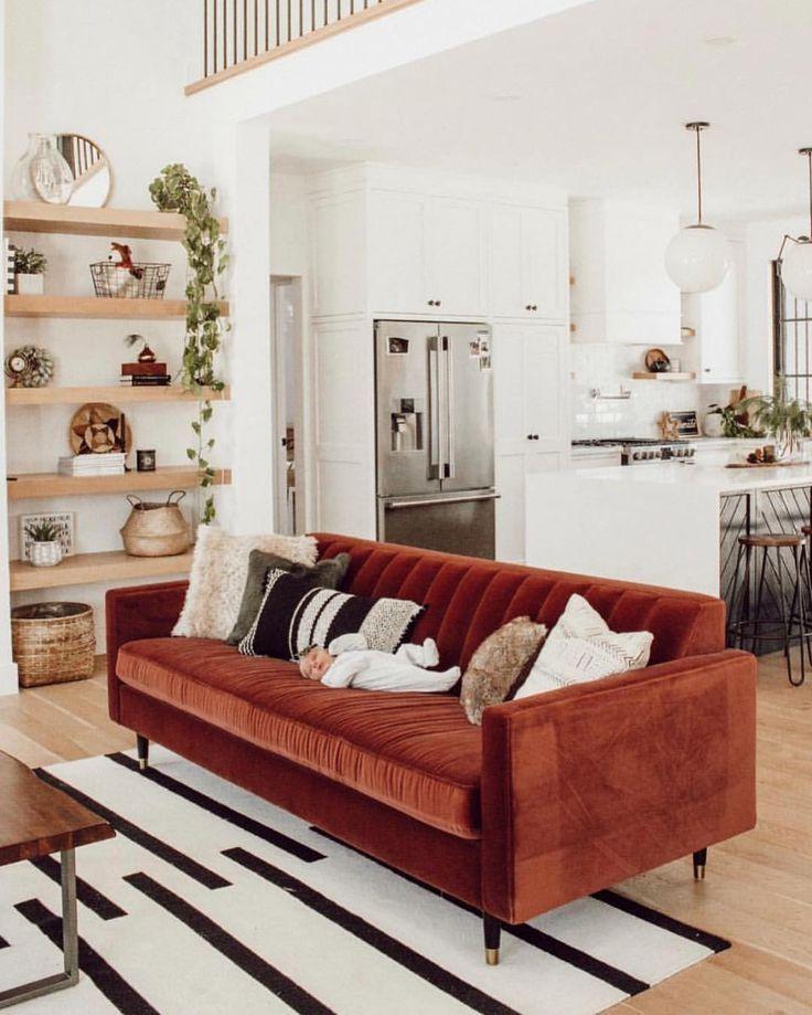 Velvet Couch Open Shelving Light Wood Floors White Kitchen Living Room Red Industrial Interior Style Boho Living Room