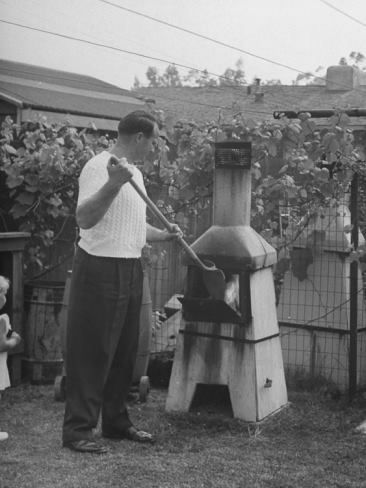 Backyard incinerator in West Covina. This is pre 1 Oct 1957 when these were outlawed to protect the air quality in Southern CA.