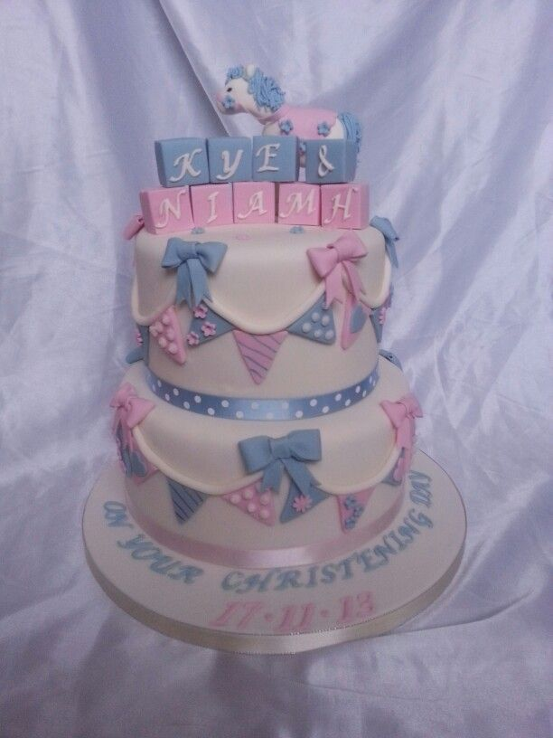 Boy and girl joint christening cake