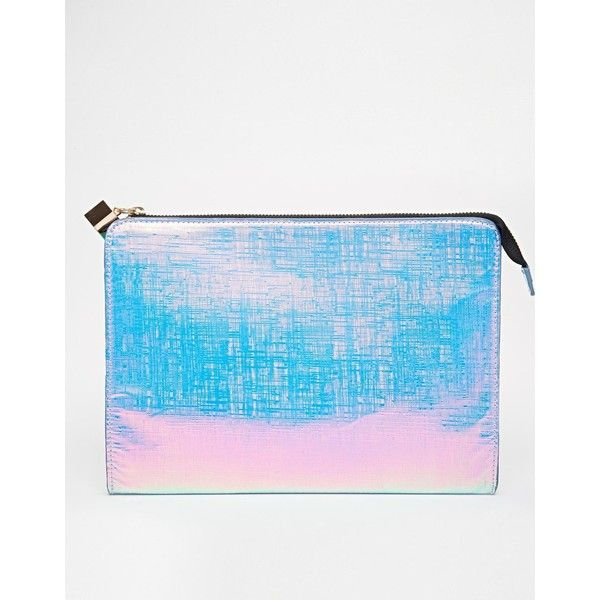 ASOS Zip Top Clutch Bag ($14) ❤ liked on Polyvore featuring bags, handbags, clutches, hologram, blue handbags, blue clutches, asos handbags, asos clutches and holographic purse