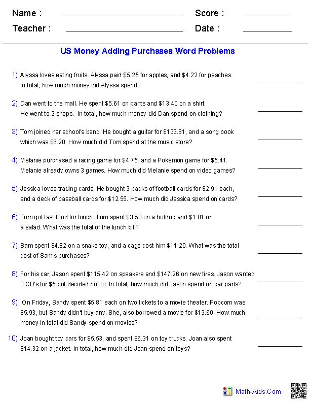 Subtracting Money Worksheet How Much Change Toys Subtraction – 5th Grade Word Problems Worksheets