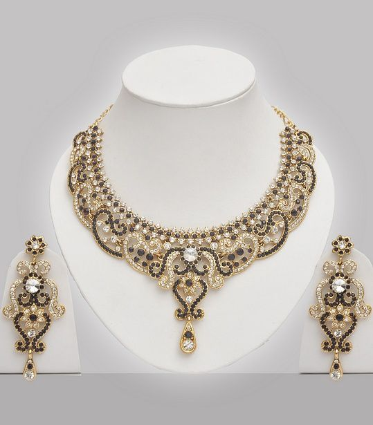 Black Stones Studded Indian Jewelry Set