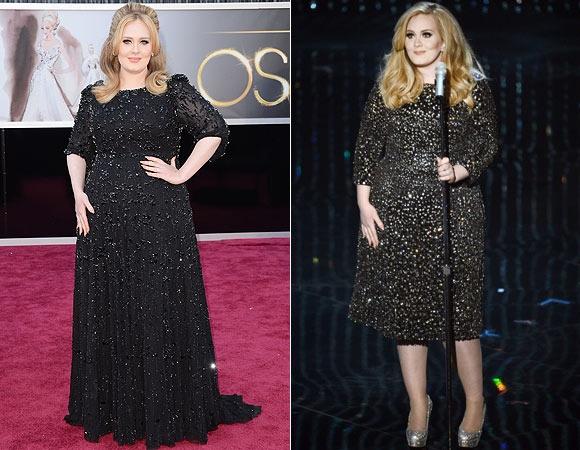 Adele voltou a apostar em vestidos pretinhos: o primeiro, para o red carpet, é longo da grife Jenny Packham; o segundo, na altura dos joelhos, é da Burberry e foi usado para sua performance no palco. Brilhante!