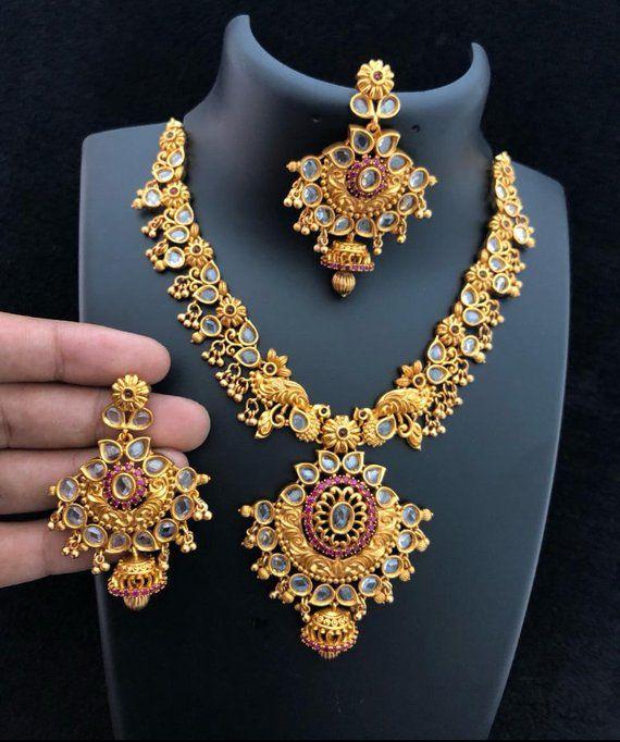 beb2704faff95a Indian jewelry, Traditional jewelry, temple jewelry, kemp stone necklace  set, indian bridal set, sou