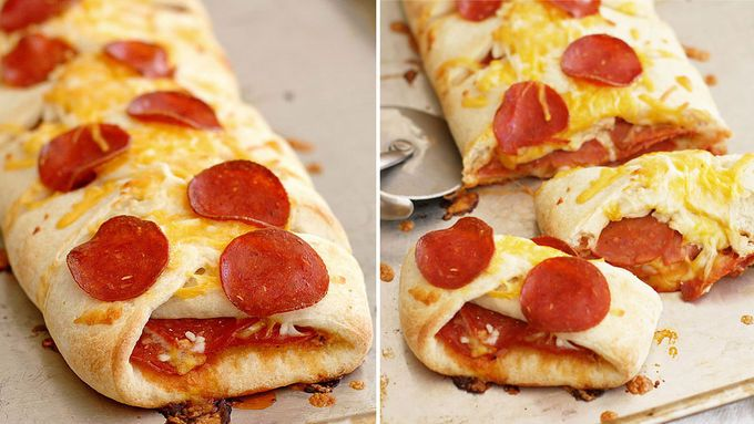 A beautiful braided pizza crust stuffed with pepperoni, pizza sauce and tons of ooey-gooey melted cheese. An easy dinner or quick game-day appetizer!