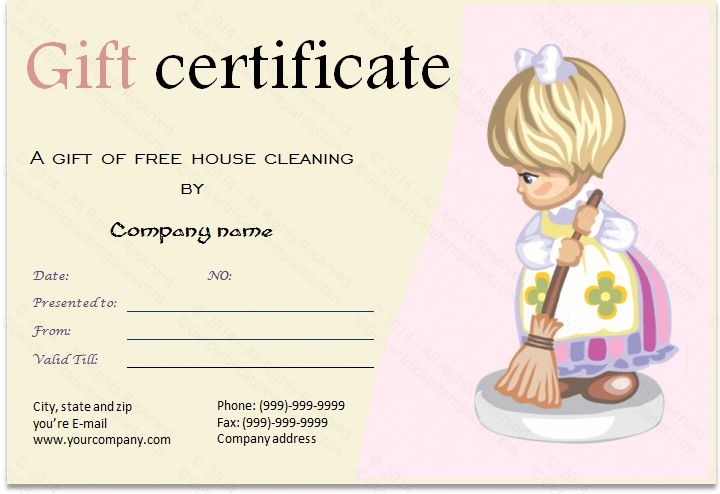 Download Options For Cleaning Services Gift Certificate