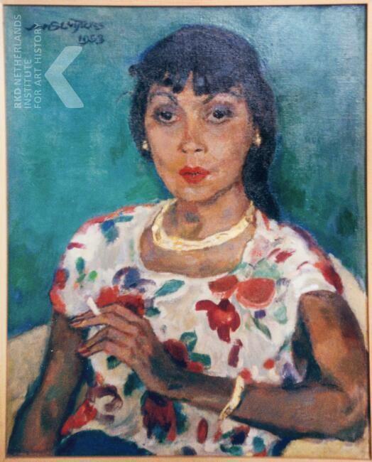 Jan Sluijters - Dame in gebloemde blouse, met sigaret (1953).