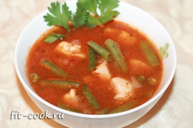Томатный суп с курицей и зеленой фасолью (рецепт с фото)