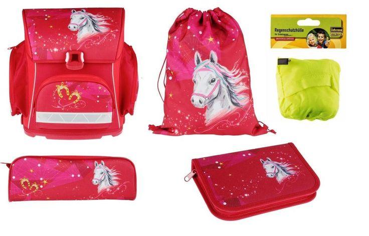 Schulranzen Set 5tlg Pferd Pferdchen Horses Neu für Mädchen  in rot