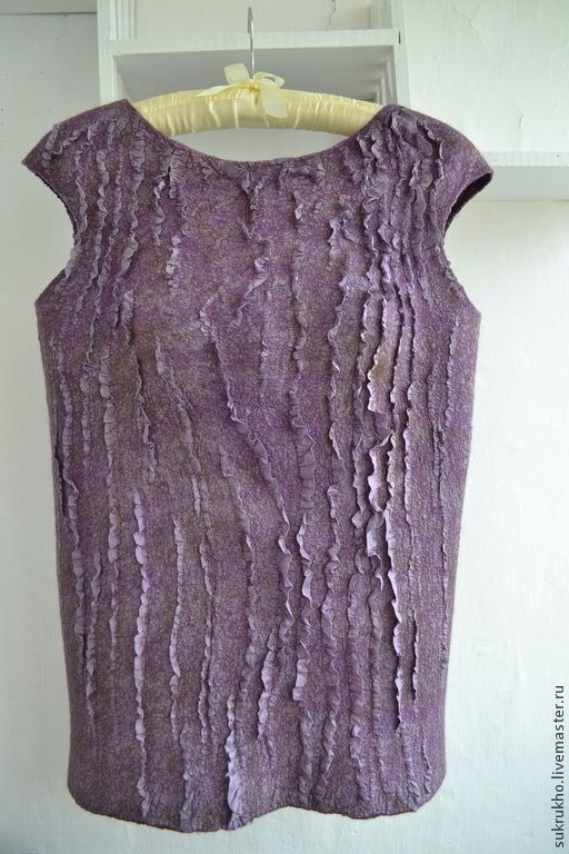 Двухсторонний валяный жилет Кудрявая сирень - фиолетовый,валяный топ,валяный жилет