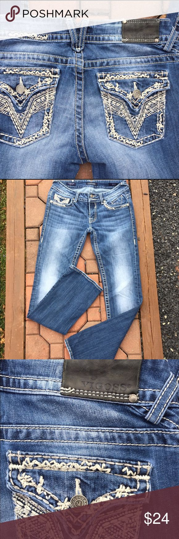 """Vigoss The New York Bootcut Jeans Size 27 X 33 Size 27X33. Bootcut. Front Rise: 7"""". 98% cotton. 2% spandex. Be sure to view the other items in our closet. We offer both women's and Mens items in a variety of sizes. Bundle and save!! Thank you for viewing our item!! Vigoss Jeans Boot Cut"""