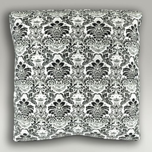 Poduszka w biało-czarne ornamenty Damask