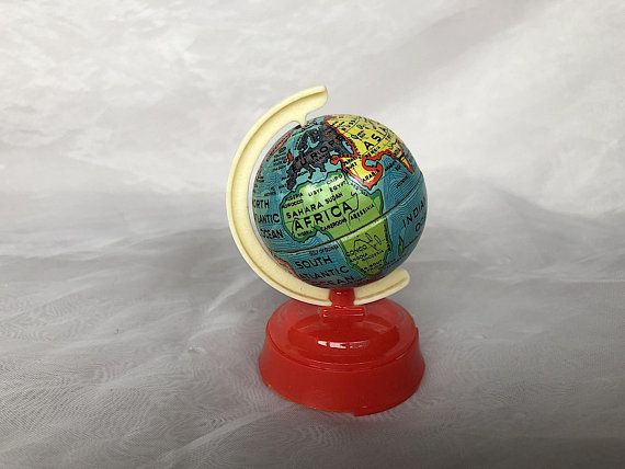 Vintage Globe Pencil Sharpener Made In Us Zone Germany Toy Tin Miniature World Globe Pencil Sharpener Us Zone Germany Collectible