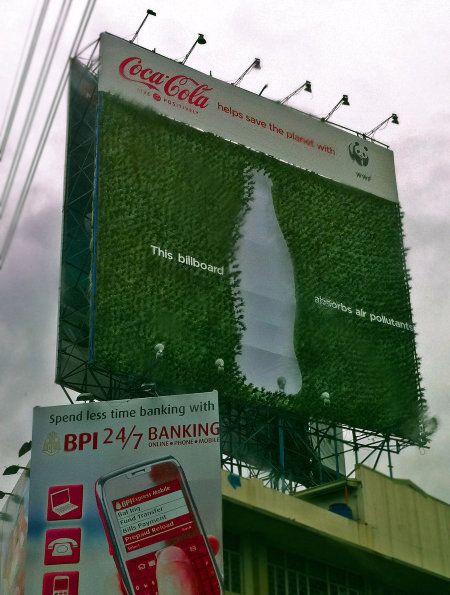 This billboard absorbs air pollutants.