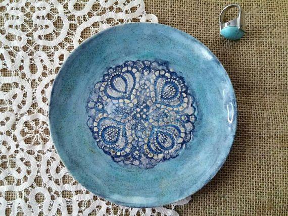 Blaue Keramik Schale Schmuck Schale Juwelen Aufbewahrung