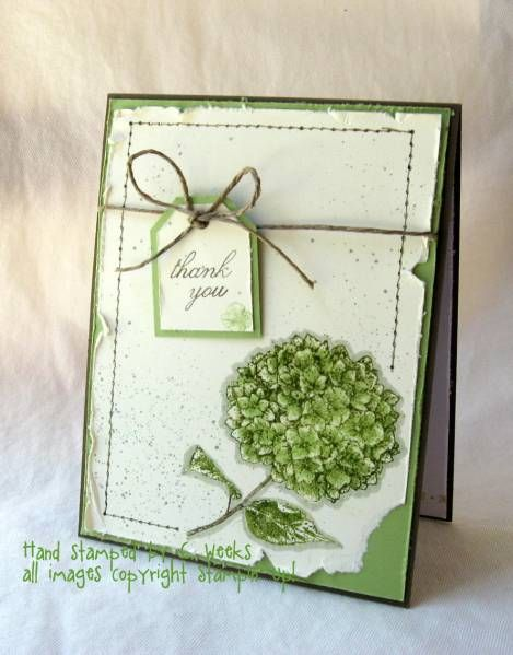 Love the green and distressing Stampin' Up! Card