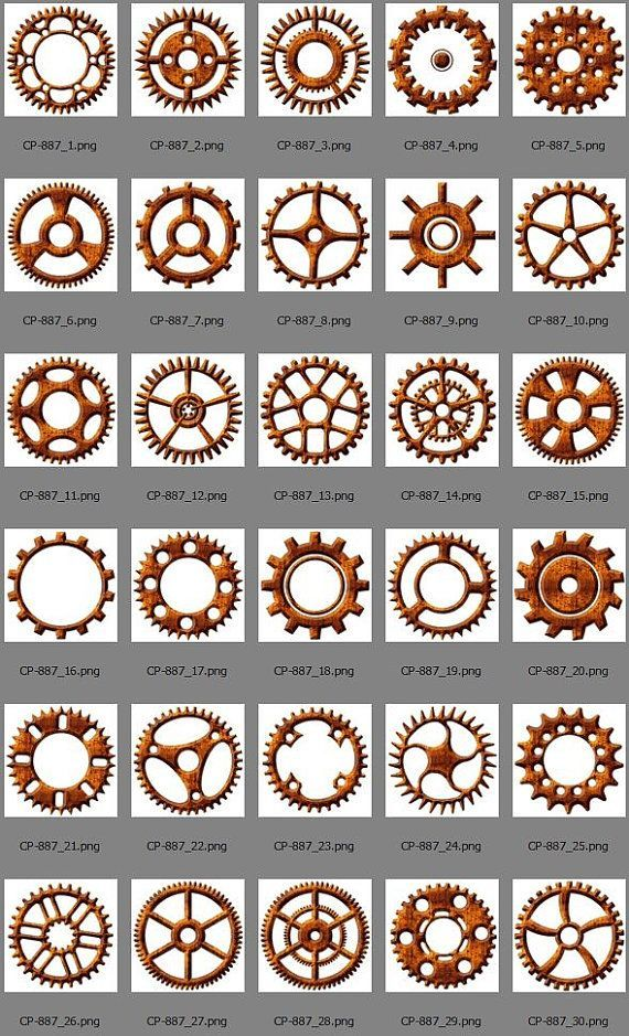 30 Steampunk Rustic Cogs  Gears Digital Clip Art, Digital Download, Printable Decoupage for Journaling, Scrapbooking, Card Making CP-887
