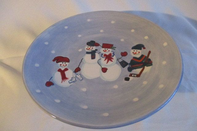 Unique Vintage Christmas Street Hand Painted Ironstone Cake Stand by VantiqueFinds on Etsy