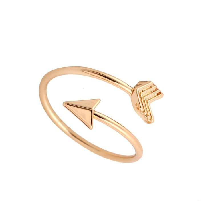 Fashion Gold Ring Vintage Jewelry Ring Adjustable Brass Small Arrow Rings for Women