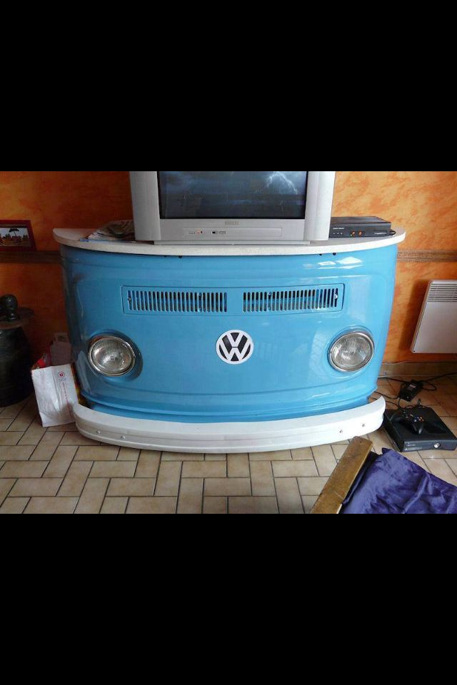 VW TV Stand. This would be great for Cade when he's old enough for a tv in his room.