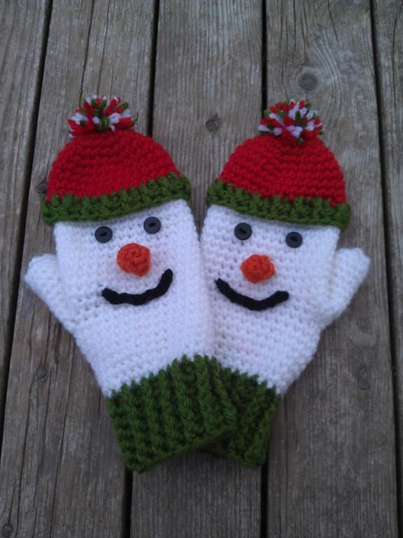 (4) Name: 'Crocheting : Ladies Snowman Mittens
