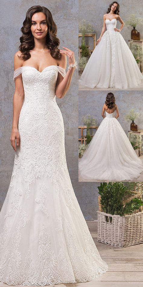 f7f114fcd19 Stunning Tulle Off-the-shoulder Neckline 2 In 1 Wedding Dress With Lace  Appliques   Detachable Skirt