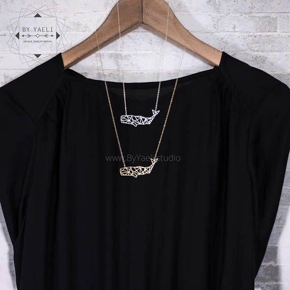 Silver sperm whale necklace, geometric whale #jewelry #necklace @EtsyMktgTool http://etsy.me/2gFcyx8 #fishnecklace #fishcharm #fishpendant