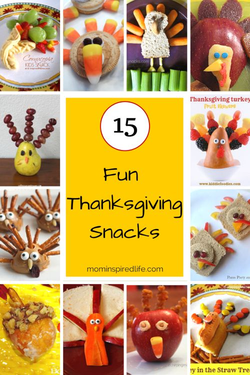 15 Fun Thanksgiving Snacks for Kids. Tons of fun food ideas for the Thanksgiving holiday!